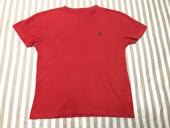Polo Ralph Lauren Camisa Rojo Caballo Azul S Small Cuello V