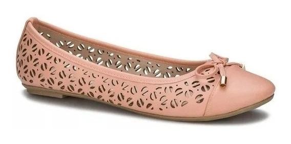 Zapato Flat Ballerina Andrea Coral 2547749 Perforaciones Moñ