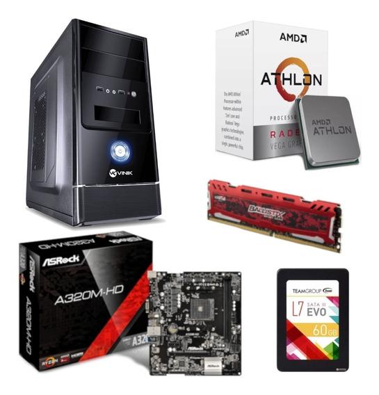 Pc Completo G1 One Athlon 200ge A320m Hd Bl 4gb Ssd 60gb