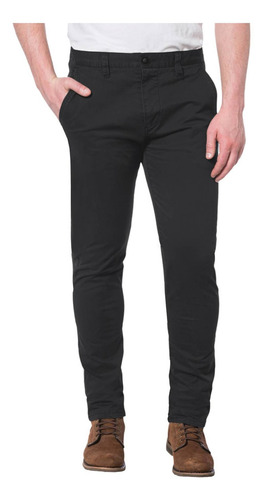 Pantalón Negro Cat Slim Chino