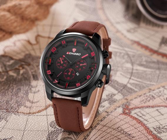 Relógio Masculino Preto E Marrom Aço Inoxidável Social Novo