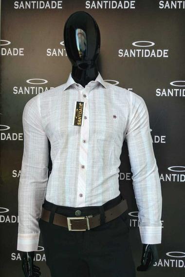 Camisa Slim Fit Manga Longa Tricoline