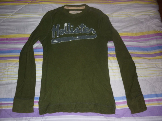 E Remera Hollister Mangas Largas Verde Art 7222