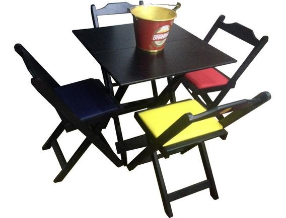 Mesa Bar 70x70 Com Logo, C/4 Cadeiras Dobráveis Logomarcada