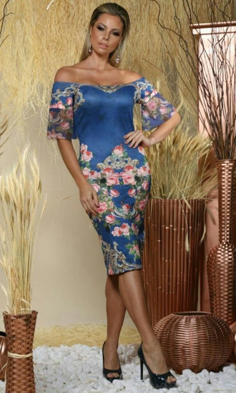 Vestido Azul Floral Ombro A Ombro Tam 38
