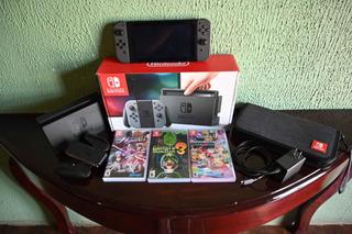 Nintendo Switch + Memoria De 128 Gb + 3 Juegos + Funda