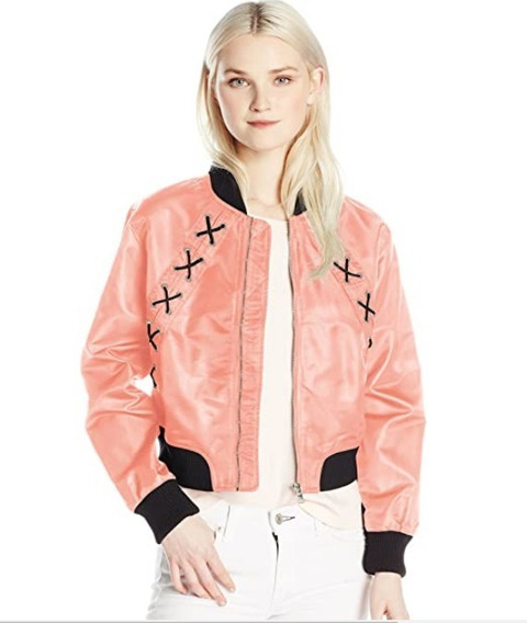 Campera Bomber Rosa De Mujer Talle Large Importada Unica