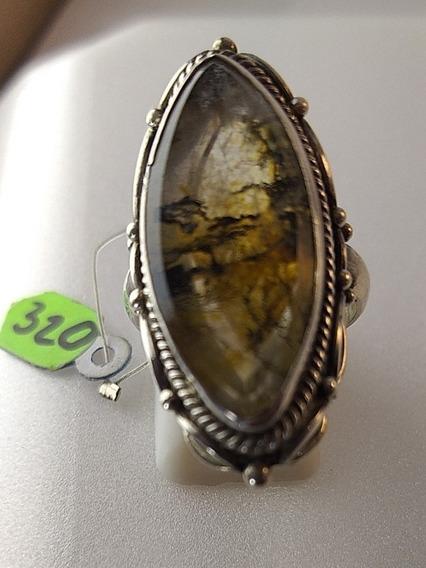 Anel De Prata 925 Com Pedra Lodonita