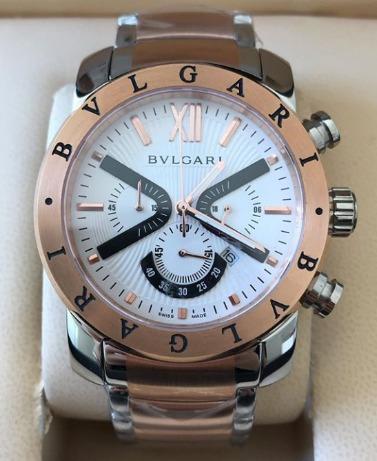 Relógio Masculino Bullgari Rosé Mostrador Branco