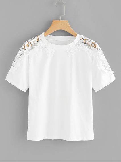Camiseta De Cuello Redondo Con Encaje En Contraste De Talla
