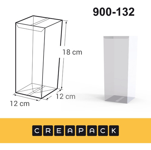 Imagen 1 de 3 de Caja De Acetato Pvc Transparentes 18 X 12 X 12 Cm (x12u)