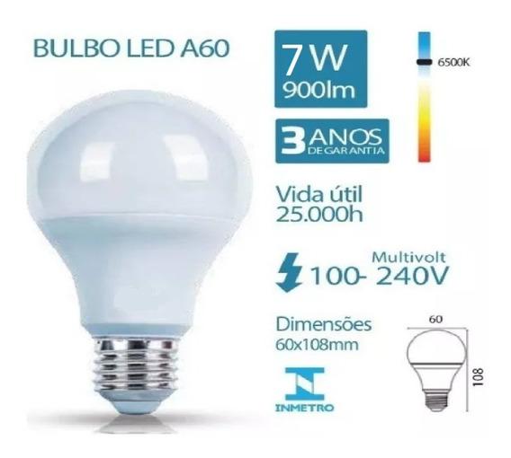 Kit 5 Lampada Led Bulbo 7 W E27 Branca 6500k Bivolt Cod:2171