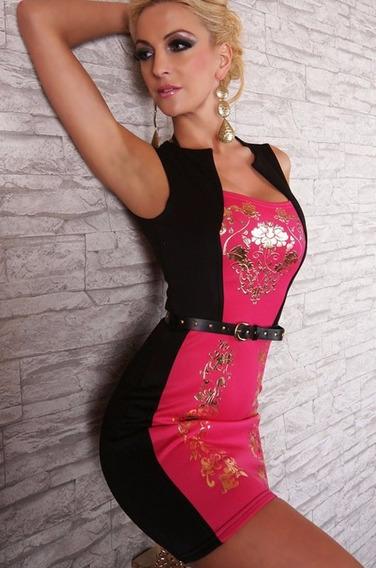 Vestido Moderno Sexy Rosa Negro Dorado Cinturon Antro 2928