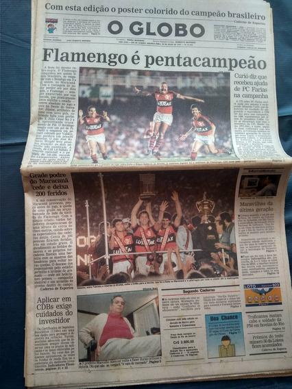 Flamengo É Pentacampeão - Jorna O Globo 1992 Com Pôster