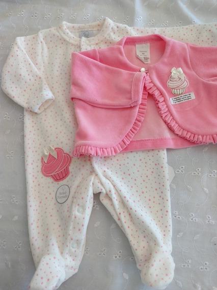Macacão Cupcake Bebê Menina C/ Casaco Plush Luxo Rosa