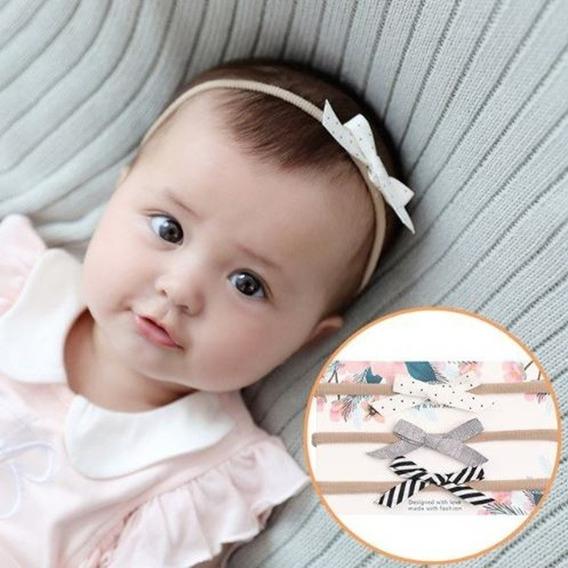 Faixa Mini Lacinho Recém Nascido Confortável Meia De Seda