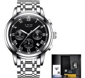 Relógio Masculino Luxo Aço Inoxidável Resistente A Água