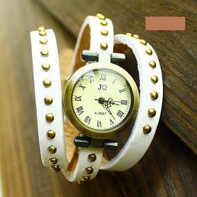 Relógio Feminino De Pulso Jq Pulseira De Couro - Branco