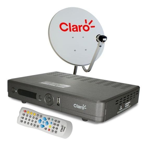 Receptor Claro Tv Pre Pago + Antena 60cm 17m Cabos + Recarga