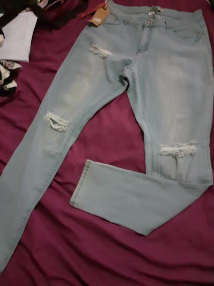 Jeans Dama Strech Rasgado Talla 15 Bota Tubito