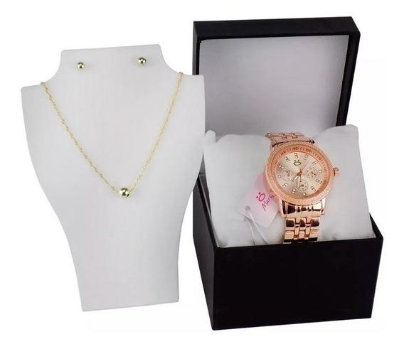 Relógio Feminino Orizom Original + Caixa + Colar + Brinco