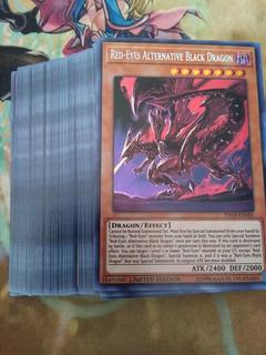 100 Cartas De Yu-gi-oh + Red Eyes Alternative Black Dragon