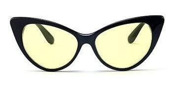 Óculos Noturno Formato De Gatinho Armação Preta Com Lentes