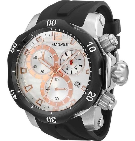 Relógio Magnum Masculino Cronógrafo Ma33755s Prata Rose