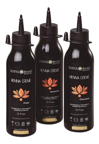 Tinta Henna Crema Profesional Surya 200 Ml Negro Profesional