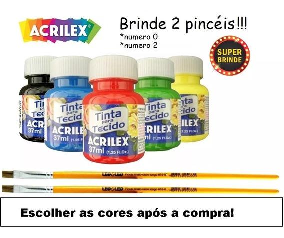 Kit Com 12 Tintas De Tecido Acrilex 37ml + Brinde - Oferta