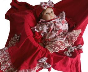 Kit Saída Maternidade Menina Inverno Com Vestido 4 Pçs