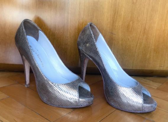 Zapato Peep Toe Dorado Maggio Rosseto 37