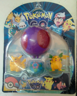 Pokemon Go - Pokebola C/3 Pokemones C/ Pikachu