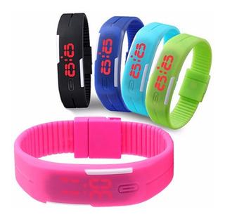 6 Relojes Led Deportivo De Silicona Varios Colores ¡oferta!
