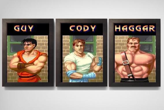 3 Quadros Poster Com Moldura Final Fight Super Nintendo Snes