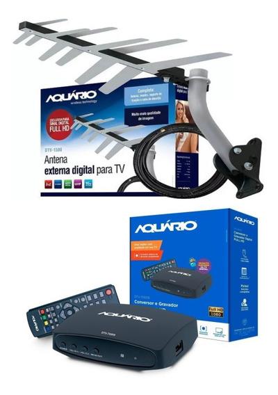 Kit Sinal De Tv Digital Conversor + Antena Externa Digital Aquário + Cabo + Suporte Pronto Para Instalar Comum Ou Tubo