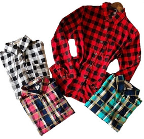 Kit 2 Camisas Xadrez Feminina Tendência Moda Feminina Promoç