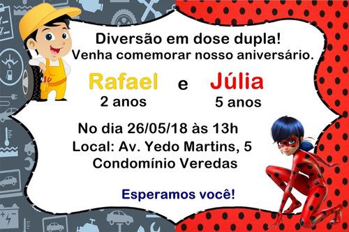 Convite Digital Aniversário Duplo Menino Menina!!!