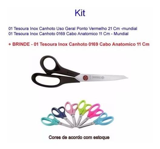 Kit Tesoura Canhoto Uso Geral P.vermelho 21 Cm +tesoura 11cm