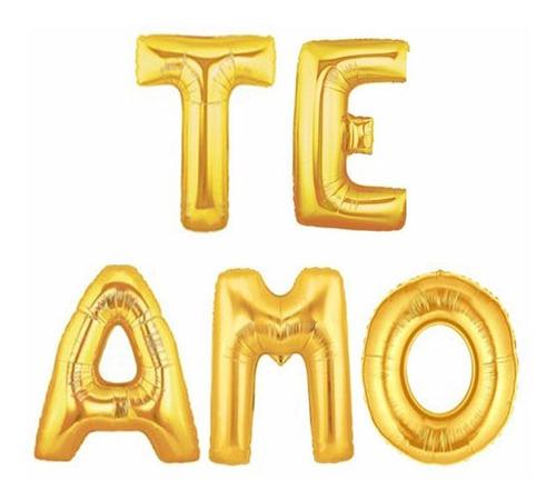 Te Amo Letras Metalizadas Globos Bombas Decoración 38cm Amor
