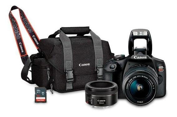 Kit Câmera Canon Eos T7 Com 18-55mm, Bolsa + Lente 50mm