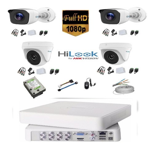 Kit Camaras De Seguridad 8 Ch 1080 + 4 Cam 1080 + D. 1 Tb +c