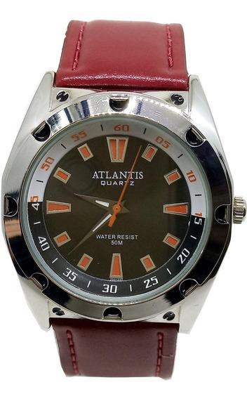 Relógio Atlantis Masculino Pulseira Couro