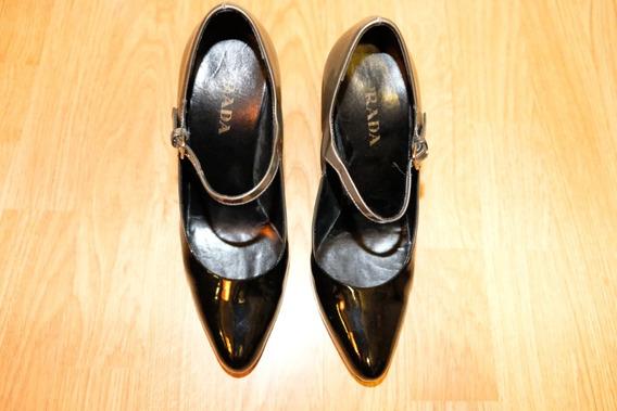 Zapatos Prada Negro Con Gris
