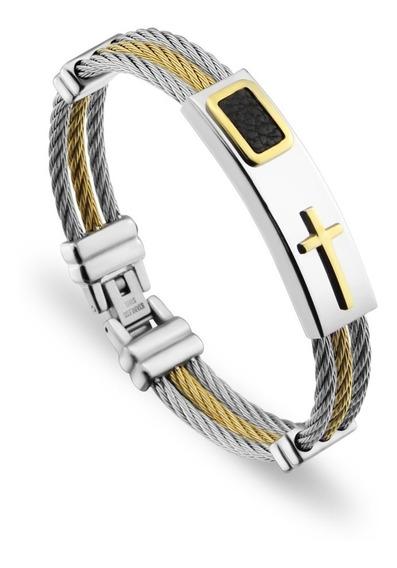 Pulseira Bracelete Masculina Aço Cruz Crucifixo Banhado Ouro
