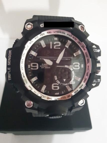 Relógio Estilo Militar Grande Lindo Preto Detalhes Prata