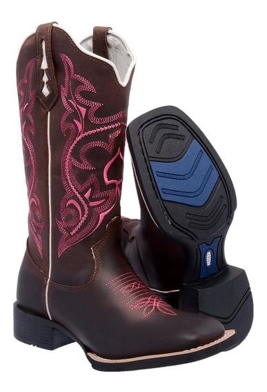 Bota Feminina Texana Bico Quadrado Cano Longo Country Couro