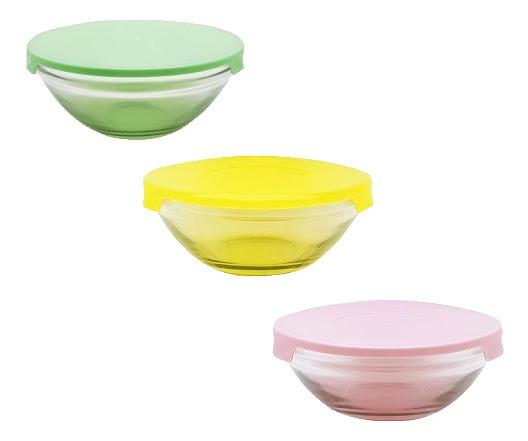 Conjunto 3 Potes De Vidro Para Mantimentos C/tampa Plástica