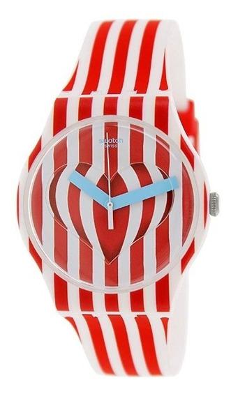 Reloj Blanco Rojo Mujer Dulce Valentin Swatch Suoz168 Analog