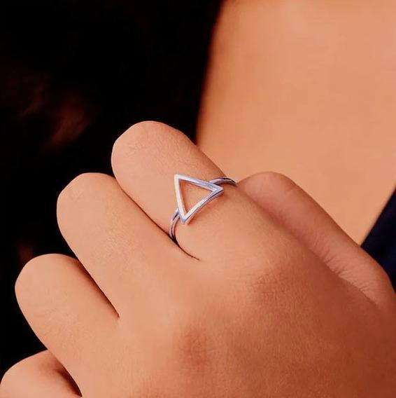 Anel Geométrico Triângulo Prata Macicça 925 Para Combinar Com Pulseira Vivara Life E Pandora